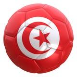 Bandera de Túnez en una bola del fútbol Imagen de archivo