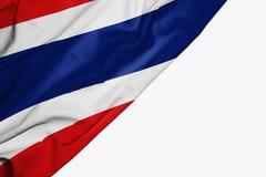 Bandera de Tailandia de la tela con el copyspace para su texto en el fondo blanco ilustración del vector