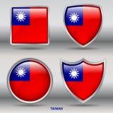 Bandera de Taiwán en la colección de 4 formas con la trayectoria de recortes Fotos de archivo