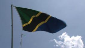 Bandera de Tanzania que sopla contra un cielo azul metrajes