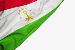 Bandera de Tayikist?n de la tela con el copyspace para su texto en el fondo blanco libre illustration