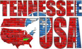 Bandera de Tennessee en una pared de ladrillo Imágenes de archivo libres de regalías