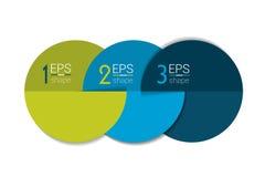 Bandera de tres elementos del negocio, plantilla 3 pasos diseñan, trazan, opción infographic, gradual del número, disposición ilustración del vector