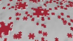 Bandera de Turquía que es hecha con los pedazos del rompecabezas Animación conceptual 3D de la solución turca del problema almacen de video