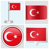 Bandera de Turquía - sistema de etiqueta engomada, de botón, de etiqueta y de la Florida Foto de archivo