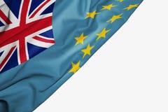 Bandera de Tuvalu de la tela con el copyspace para su texto en el fondo blanco ilustración del vector