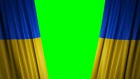 Bandera de Ucrania animación 3d de la apertura y de cortinas cerradas con la bandera 4K stock de ilustración