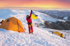 Bandera de Ucrania contra Montenegro Goverla Imagenes de archivo