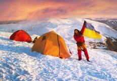 Bandera de Ucrania contra Montenegro Goverla Imágenes de archivo libres de regalías