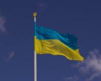 Bandera de Ucrania en cielo Fotografía de archivo