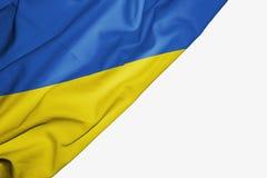 Bandera de Ucrania de la tela con el copyspace para su texto en el fondo blanco stock de ilustración