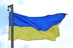 Bandera de Ucrania que agita en el viento Fotografía de archivo libre de regalías