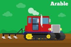 Bandera de un tractor de correa eslabonada agrícola con el campo de la labranza de la paleta ilustración del vector