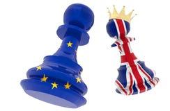 Bandera de unión del conflicto de Brexit y empeño eurepean de la bandera de Gran Bretaña Inglaterra con la corona - representació stock de ilustración