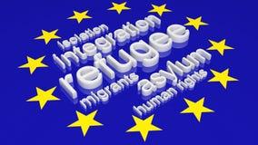 Bandera de unión europea con el texto asociado Foto de archivo libre de regalías