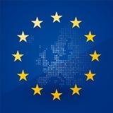 Bandera de unión europea con un mapa ilustración del vector