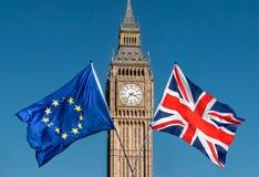 Bandera de unión europea delante de Big Ben, UE de Brexit fotos de archivo libres de regalías