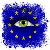 Bandera de unión europea pintada en cara con el ojo verde Fotos de archivo libres de regalías