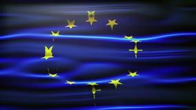 Bandera de unión europea que agita y que sopla en la brisa con el sitio para el texto, los logotipos, los gráficos y los títulos stock de ilustración