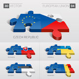 Bandera de unión europea rompecabezas del vector 3D Sistema 04 stock de ilustración