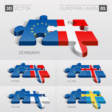 Bandera de unión europea rompecabezas del vector 3D Sistema 05 stock de ilustración