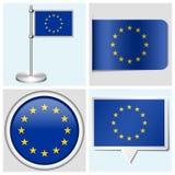 Bandera de unión europea - sistema de la etiqueta engomada, botón, labe Imagenes de archivo