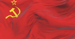 Bandera de Unión Soviética que agita en el viento con el cielo azul, lazo stock de ilustración