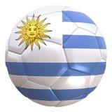 Bandera de Uruguay en una bola del fútbol Imagen de archivo