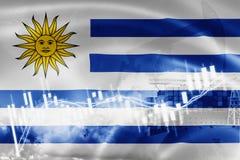 Bandera de Uruguay, mercado de acción, economía y comercio, producción petrolífera, del intercambio portacontenedores en la expor ilustración del vector