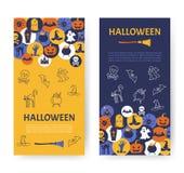 Bandera de Víspera de Todos los Santos Iconos de Halloween en círculos en backdro texturizado Fotografía de archivo libre de regalías