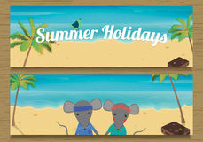 Bandera de 2 vacaciones de verano con el ratón lindo de los pares Muchacho y muchacha del ratón Ilustración del vector Fotos de archivo libres de regalías