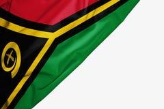 Bandera de Vanuatu de la tela con el copyspace para su texto en el fondo blanco stock de ilustración