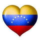 Bandera de Venezuela en la forma de un corazón Aislado en el fondo blanco ilustración del vector