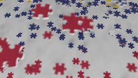 Bandera de Venezuela que es hecha con los pedazos del rompecabezas Animación conceptual 3D de la solución venezolana del problema almacen de metraje de vídeo