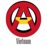 Bandera de Vietnam del mundo bajo la forma de muestra de la anarquía stock de ilustración