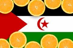 Bandera de Western Sahara en marco horizontal de las rebanadas de los agrios ilustración del vector