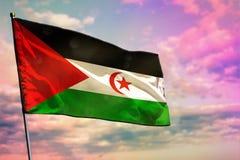 Bandera de Western Sahara que agita en fondo colorido del cielo nublado Concepto de la prosperidad stock de ilustración