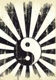 Bandera de yang del yin del Grunge Foto de archivo