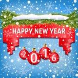 Bandera del Año Nuevo adornada con las bolas de la Navidad, las ramas de árbol de navidad, la nieve y los copos de nieve rojos en Fotografía de archivo libre de regalías