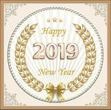 Bandera del Año Nuevo con la fecha 2019 en una guirnalda de oro del laurel ilustración del vector