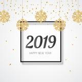 Bandera del Año Nuevo 2019 Copos de nieve de oro colgantes del brillo Ilustración del vector stock de ilustración