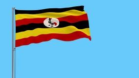 Bandera del aislante de Uganda en una asta de bandera que agita, cantidad de los prores 4k, transparencia alfa ilustración del vector