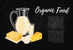 Bandera del alimento biológico con la composición de la lechería ilustración del vector