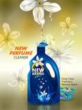 Bandera del anuncio del detergente para ropa líquido del removedor de la mancha y de la suciedad para el paño limpio y fresco Fotografía de archivo