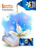 Bandera del anuncio del detergente para ropa líquido del removedor de la mancha y de la suciedad para el paño limpio y fresco Fotografía de archivo libre de regalías