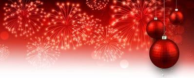 Bandera del Año Nuevo con los fuegos artificiales Imagen de archivo