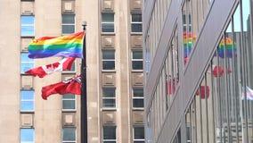 Bandera del arco iris de LGBT en Toronto metrajes