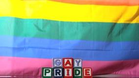 Bandera del arco iris que sopla en la brisa con los bloques del orgullo gay almacen de video