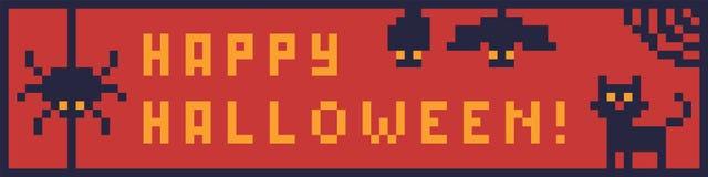Bandera del arte del pixel para el diseño en Halloween Imagen de archivo libre de regalías