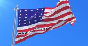 Bandera del atolón de bikini que agita en el viento en lento con el cielo azul, lazo